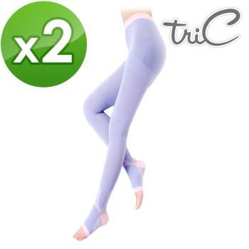 【Tric】台灣製造 睡眠專用 機能美腿露趾褲襪 2雙