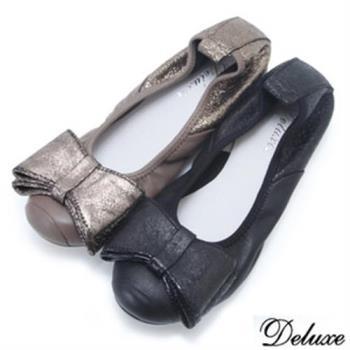 【Deluxe】全真皮寬版蝴蝶結娃娃鞋(-黑-咖啡)