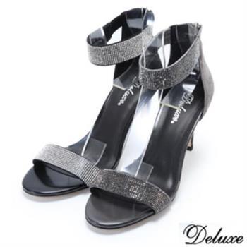 【Deluxe】全真皮璀璨焦點華麗水鑽法式優雅細跟高跟鞋(灰)