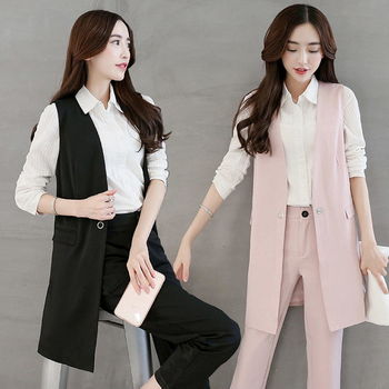 【理子時尚】純色西裝背心直筒褲套裝兩件套 (共二色)