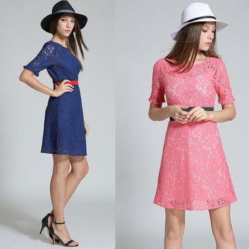 【理子時尚】蕾絲拼接經典條紋短袖連衣裙(共二色)