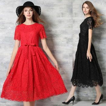 【理子時尚】圓領鏤空蕾絲修身短袖連衣裙(共二色)