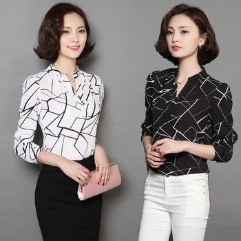 【理子時尚】韓版V領格線印花雪紡襯衫上衣(共二色)