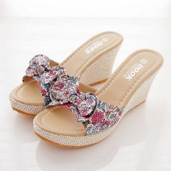 《DOOK》盛開小花園麻料楔型鞋(米色)