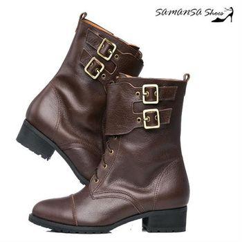 莎曼莎手工鞋【MIT全真皮】 英國龐克側拉鍊雙排釦機車靴 #14905--深咖啡