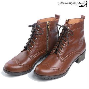 莎曼莎手工鞋【MIT全真皮】 街頭時尚側拉鍊綁帶馬汀靴 #14904-復古棕