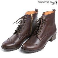 莎曼莎 鞋~MIT全真皮~ 街頭 側拉鍊綁帶馬汀靴 #35 14904 #45 深咖啡