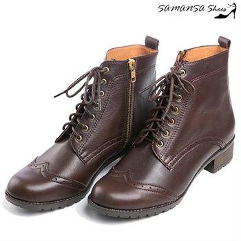 莎曼莎手工鞋【MIT全真皮】 街頭時尚側拉鍊綁帶馬汀靴 #14904-深咖啡