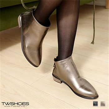 【TOMO】金屬感皮質尖頭後拉鍊低跟短靴(K136B3004)