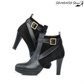 莎曼莎手工鞋【MIT全真皮】 輕時尚異材質拼接造型釦環踝靴 #14906--簡約黑