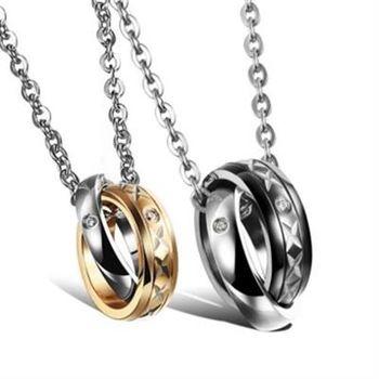 【米蘭精品】鈦鋼項鍊情侶對鍊(一對)韓版時尚鑲鑽圓型73cl86