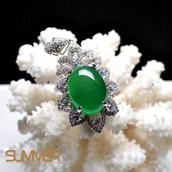 【SUMMER 寶石】天然透光《綠玉髓》設計款項鍊 (P1-06)