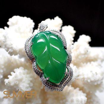 【SUMMER 寶石】天然透光《綠玉髓》葉子項鍊 (P1-05)