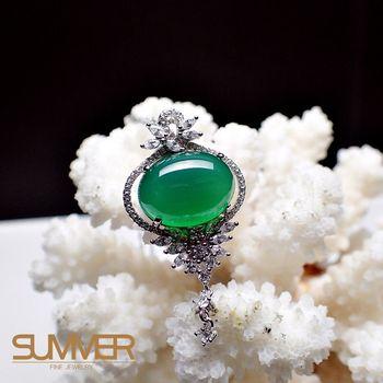 【SUMMER 寶石】天然透光《綠玉髓》設計款項鍊 (P1-03)