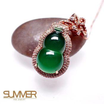 【SUMMER 寶石】天然透光《綠玉髓》葫蘆項鍊 (P1-01)