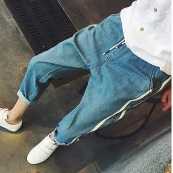 【協貿國際】白邊雙槓設計哈倫褲秋季男裝薄款牛仔褲單件