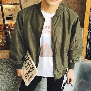 【協貿國際】拉鍊裝飾棒球服外套男單件