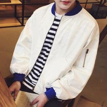 【協貿國際】新款日系撞色棒球服潮男修身版長袖外套單件