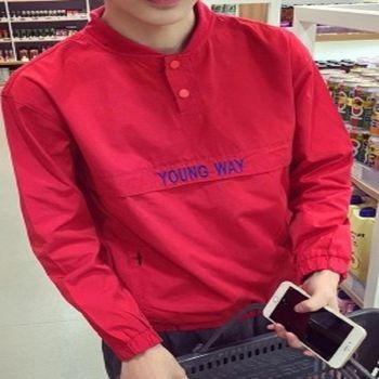 【協貿國際】男士棒球領套頭夾克字母繡花潮款外套男單件