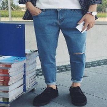 【協貿國際】時尚破洞牛仔褲男士韓版單件
