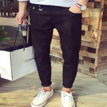 【協貿國際】百搭修身黑色牛仔褲男單件