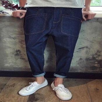 【協貿國際】多口袋牛仔褲低襠垮褲男單件