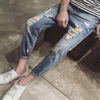 【協貿國際】日系新款水洗破洞牛仔褲男士單件