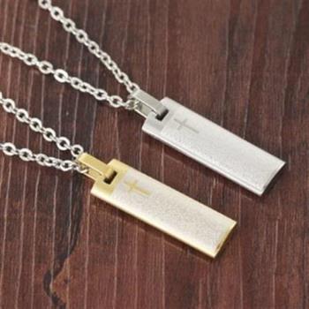 【米蘭精品】鈦鋼項鍊情侶對鍊(一對)高貴信仰十字架聖經2色73cl102