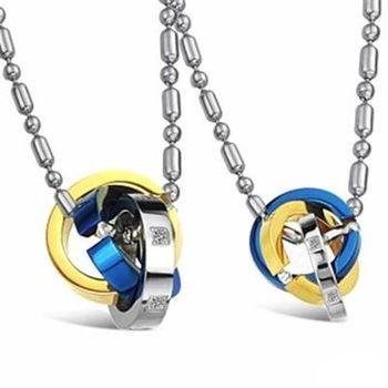 【米蘭精品】鈦鋼項鍊情侶對鍊(一對)時尚三色圓環相扣73cl114