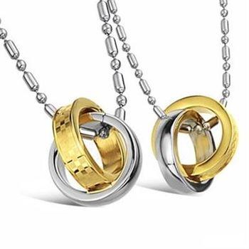 【米蘭精品】鈦鋼項鍊情侶對鍊(一對)時尚經典圓環相扣73cl115