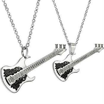 【米蘭精品】鈦鋼項鍊情侶對鍊(一對)時尚搖滾黑色吉他73cl121