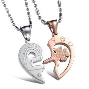 【米蘭精品】鈦鋼項鍊情侶對鍊韓版心型鑰匙拼圖3色(一對)73cl2