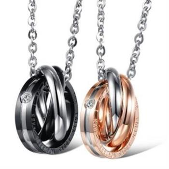 【米蘭精品】鈦鋼項鍊情侶鑲鑽對鍊(一對)高貴獨特唯一的愛2色73cl6