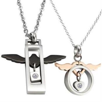【米蘭精品】鈦鋼項鍊情侶對鍊(一對)流行精緻天使的翅膀2色73cl19