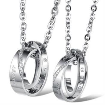 【米蘭精品】鈦鋼項鍊情侶對鍊(一對)高雅大方經典圓環73cl26