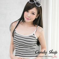 Candy小舖 新品特色款 休閒雙色彈性條紋細肩帶針織背心 ^#40 白 ^#47 灰 ^