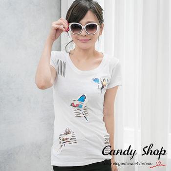 Candy小舖 新品特色款休閒棉質彈性素色圖騰刷破T恤-白色