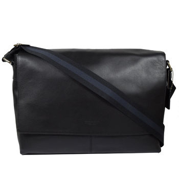 COACH 54792 質感全皮革雙色織帶中性斜背包.黑