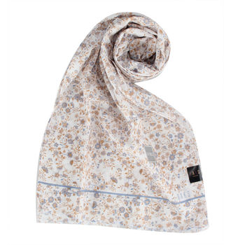 DAKS抗UV浪漫花卉薄圍巾-藍色