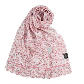 DAKS抗UV浪漫花卉薄圍巾-粉色