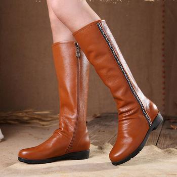 [背叛風情] 秋冬新款真皮長筒女靴牛皮中跟高筒靴拉鍊T16CXZ07685兩色