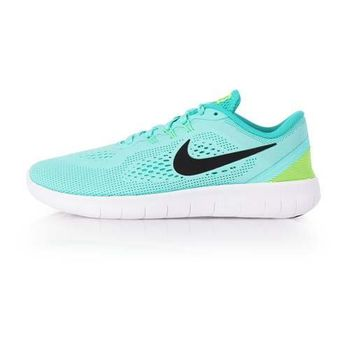 【NIKE】FREE RN -GS 女慢跑鞋 - 路跑 輕跑鞋 湖水綠白