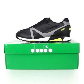 【DIADORA ORIGINAL】N9000男進口復古休閒鞋 黑螢光黃