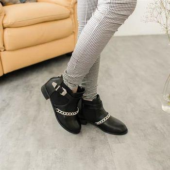 【TOMO】側扣環銀鍊素色踝靴(K167B2823)