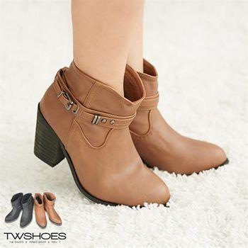 【TOMO】韓版質感真皮側扣環鉚釘素色粗跟短靴【K167D2854】