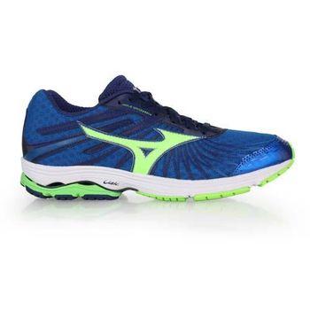 【MIZUNO】WAVE SAYONARA 4 男慢跑鞋- 路跑 美津濃 藍螢光綠