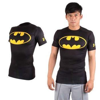 【UNDER ARMOUR】美國進口 男HG短袖緊身衣-慢跑 路跑 超人 蝙蝠俠 UA 黑黃  美國進口