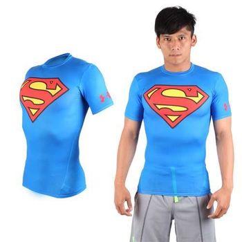 【UNDER ARMOUR】美國進口 男HG短袖緊身衣-慢跑 路跑 超人 蝙蝠俠 UA 藍紅  美國進口