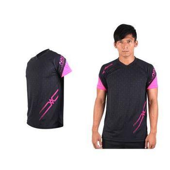 【MIZUNO】男排球短袖T恤-運動T恤 美津濃 NXT系列 黑桃紅  吸汗快乾功能
