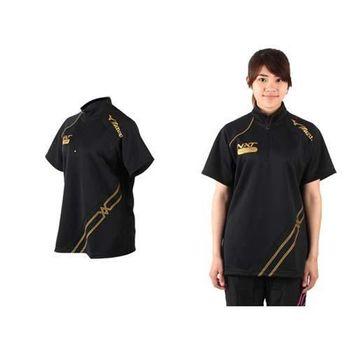 【MIZUNO】VOLLEYBALL WARM-UP 日本進口 女短袖運動T恤-排球 羽球 熱身T恤 黑金  日本進口台灣獨賣